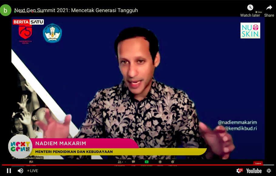 Mendikbud Nadiem Anwar Makarim Berharap Sekolah Dan Kampus Melakukan erbagai Inovasi Dan Berani Mencoba Hal Baru